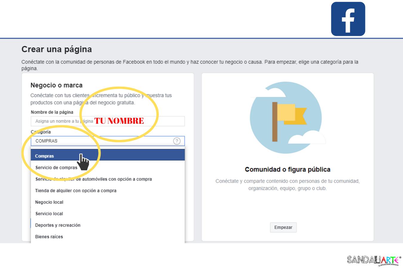 como elegir el nombre de pagina en facebook